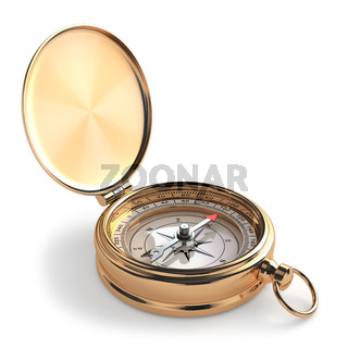 Gold compass on white isolated background.