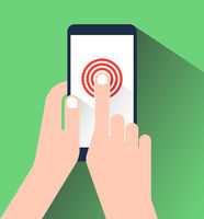 Hand holding and touching a smartphone. Flat design icon