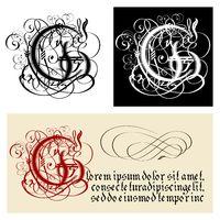 Decorative Gothic Letter G. Uncial Fraktur calligraphy.