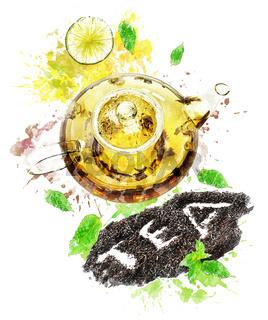 Watercolor Image Of  Tea Pot