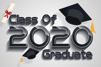 Class of 2020 year graduates banner concept. 3D illustration  numbers and  graphic design template