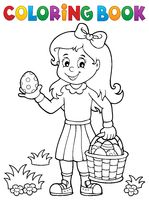 Coloring book girl with Easter eggs 1