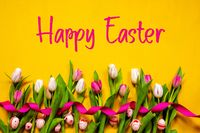 Colorful Tulip, Text Happy Easter, Easter Egg, Yellow Background