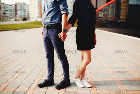 Lovely couple outdoor has romantic photo session