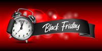 Curved paper banner ribbon with Black Friday inscription and realistic black alarm clock.