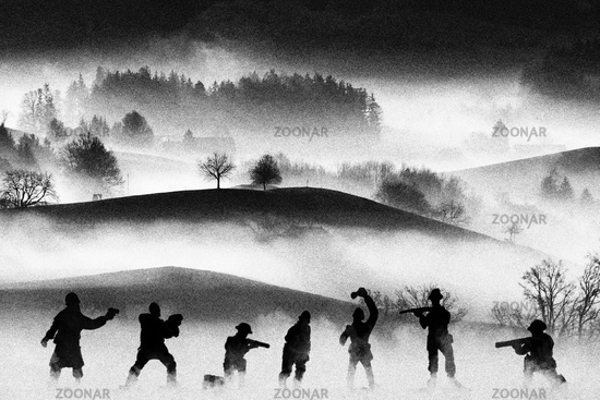 War concept. Vintage military silhouettes fighting scene  background, Civil war soldiers silhouettes attack scene in a foggy landscape. Analog film look.