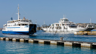 Car ferries leaving and entering  Palau port Sardinia
