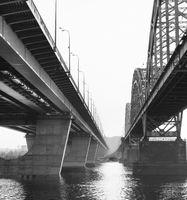 Railway Darnytskyi bridge Kiev Ukraine