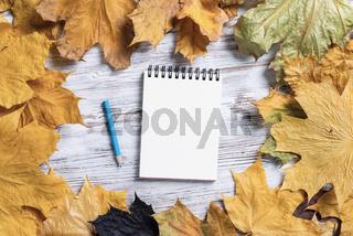 Spiral notepad and pen lies on vintage wooden desk