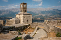 Clock tower and fortress at Gjirokaster castle, Albania
