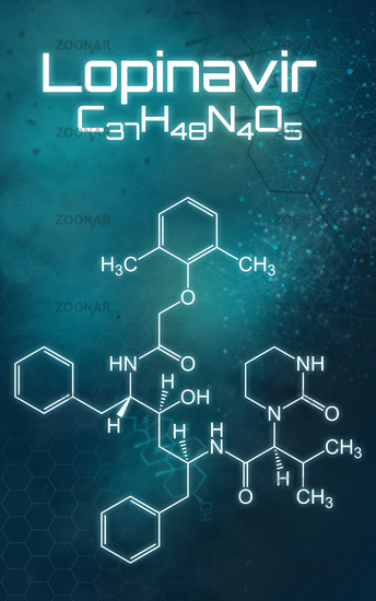 Chemical formula of Lopinavir on a futuristic background