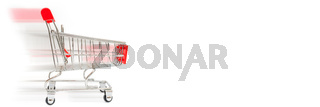 Metal trolley for supermarket. Transportation of products in store. Retail.
