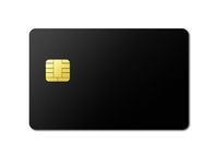Black credit card on a white background