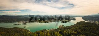 Panorama of Lake Worthersee and Klagenfurt city
