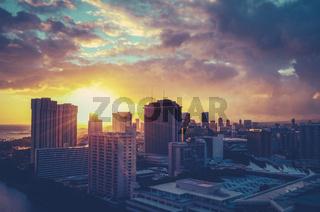 Retro Filtered Hawaii Cityscape