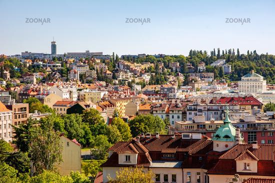 Aerial view over the city of Prague