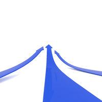 Blue upswing arrows on white
