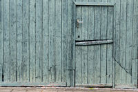 Green painted wooded Dutch Barn Door - horizontal