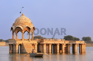 Gadi Sagar temple at Gadisar lake, Jaisalmer, India