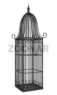 empty black birdcage isolated on white background