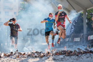 Encamp, Andorra : 2020 Sept 05 : Competitors participate in the 2020 Spartan Race obstacle racing challenge in Andorra, on september 05, 2020.
