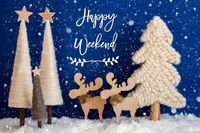 Christmas Tree, Moose, Snow, Text Happy Weekend, Snowflakes