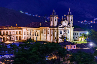 Night view from the top of the historic 18th century church and Ouro Preto downtown
