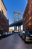 Down Under the Manhattan Bridge Overpass - DUMBO Point from brooklyn New york city NY USA. This is the neighborhood landmark located between manhattan and brookltn bridge in New York City USA.