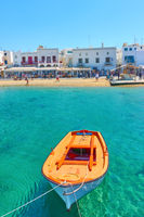 Oar boat in The Old Port of Mykonos