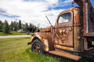 Prince George British Columbia Canada Old cars on the roadside