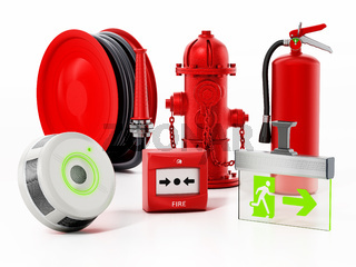 Fire safety equipment isolated on white background. 3D illustration