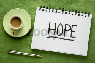 hope word - handwriting in a sketchbook