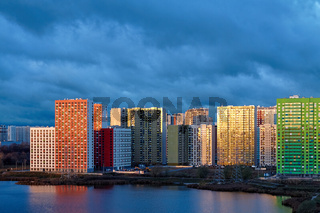 New colored residential buildings with reflection