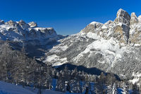 Dolomiten Landschaft im Winter, Alta Badia, Dolomiten, Südtirol, Italien
