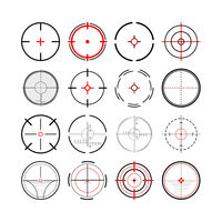 Large set of different military crosshairs, gun sight icons on white