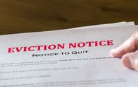 Official legal eviction order or notice to renter or tenant of home
