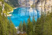 Panorama of Oeschinensee lake and Alps, Switzerland.