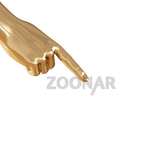 A golden hand points a finger to the opposite corner of the down on a white background. 3d rendering
