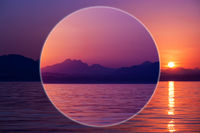 Modern art collage with sunset sea and mountain in style of 80-90s. Ocean and mountain landscape in bright neon colors. Contemporary art poster in surreal style. Zine culture.Template for design.
