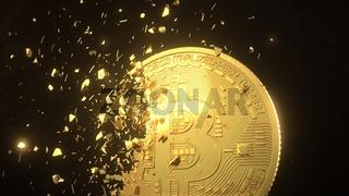 Splintered Golden Bitcoin
