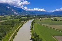 Auenlandschaft am Rhone Fluss, Port-Valais, Wallis, Schweiz
