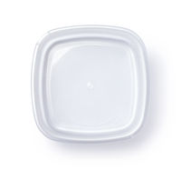 Top view of open empty plastic food container