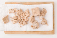 Yeast cubes for bread making isolated on white background.