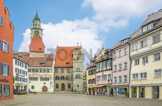 Marktplatz Überlingen am Bodensee mit Münster St. Nikolaus und Rathaus