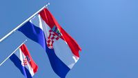 3D rendering of the national flag of Croatia waving in the wind