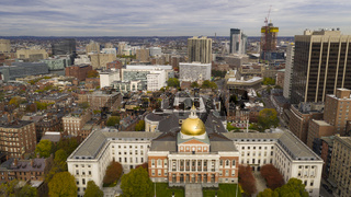 Aerial view over the Massachusetts statehouse capital building downtown Boston