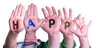 Children Hands Building Word Happy, Isolated Background