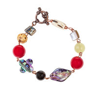 bracelet from nacre, bone and agate beads