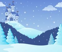 Winter countryside with castle theme 1