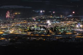 Silvesterfeuerwerk, Gaellivare, Lappland
